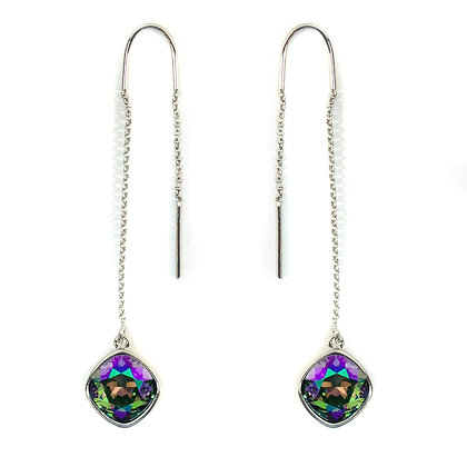 Purple Green Crystaled Silver Chained Two Sided Earring - TROY 100 PSC