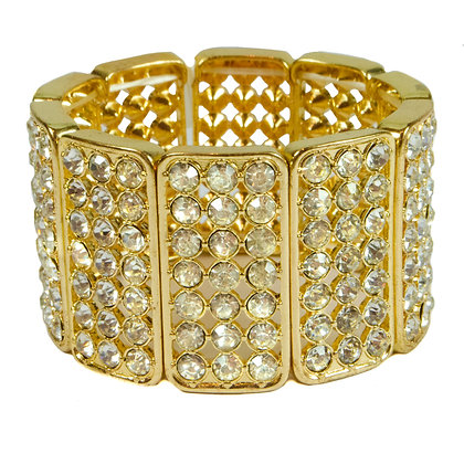 Crystaled Gold Lastic Bracelet