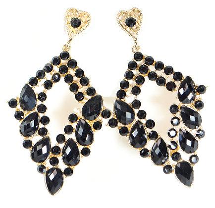 Black Stoned Gold Earrings - Model: 354-73536