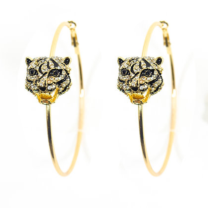 Black and Gold Panther Earrings