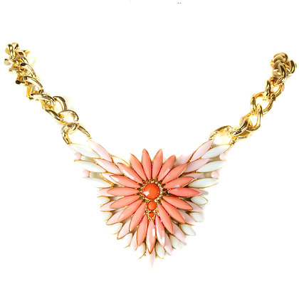 Pink Stoned Floral Necklace - Model: TROY 1020