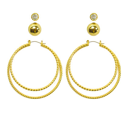 Gold Hoop Earring Set with Crystal and Ball - 2 TD38154