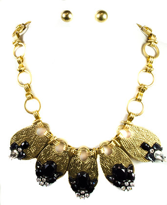 Black Stoned Gold Plates Necklace Set - Model: 336 MS4004