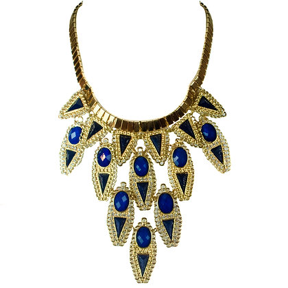 Gold Blue Stoned Necklace