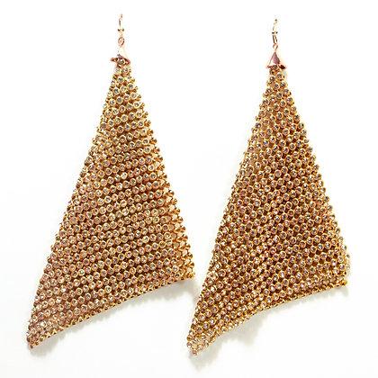 Crystaled Rose Gold Tassel Earrings - TROY 4184