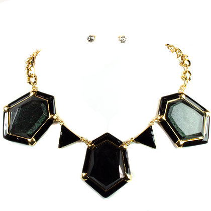 Black Hexagon Stoned Statement necklace - Model: 299 HNE1379