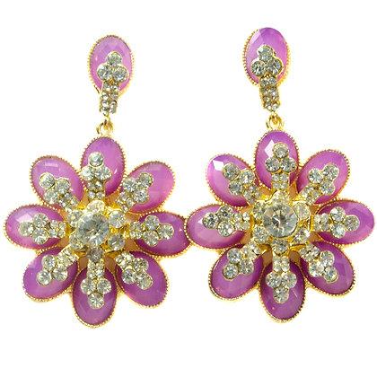 Fuschia Beaded Crystaled Flower Earrings - TROY 100 FBC