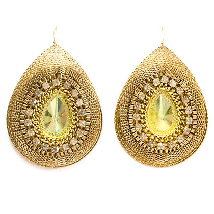 Green Crystaled Gold Drop Earrings - TROY GGD