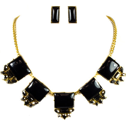 Black Stoned Gold Necklace Set - Model: 299 ANE3064