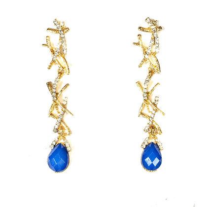 Dark Blue Stoned Crystal Deinty Earrings - Model: TROY 1312