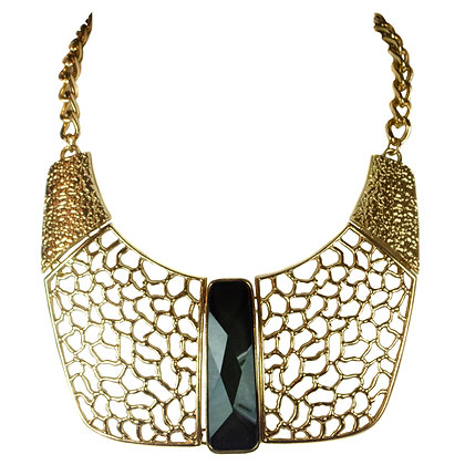 Stoned Gold Plate Statement Necklace