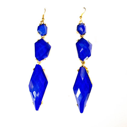 Blue Quad Textured Stone Earring - Model: TROY 300