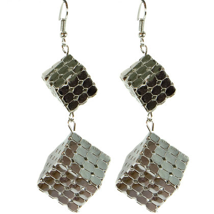 Metal Double Cube Earrings