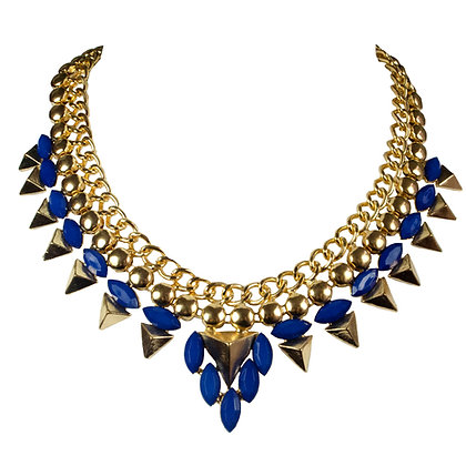 Blue Stoned Gold Triangle Necklace
