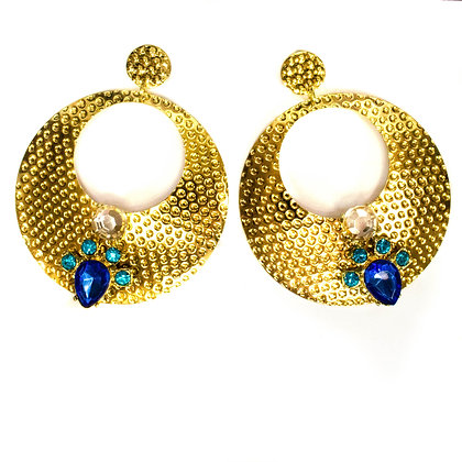 Blue Stoned Gold Metal Hoop Earrings - Model: TROY 1015