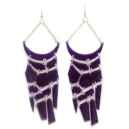 Purple Metal Plate Earrings - Model: 408 GER3416