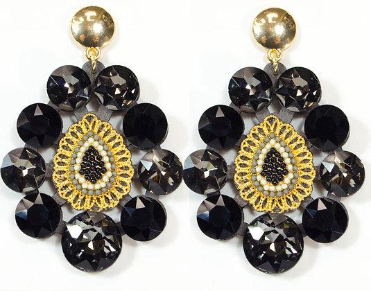 Black Beaded Earring - Model: 445-JFE1063