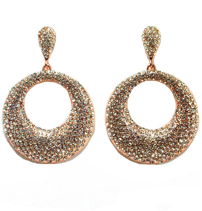Crystaled Rose Gold Drop Earrings - TROY 4308