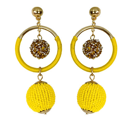 Yellow Beaded Globe Hoop Earrings