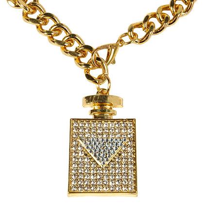 Gold Chain Belt with Rhinestoned Parfume Bottle