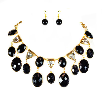 Black Stoned Crystal Necklace Set - Model: TROY 855