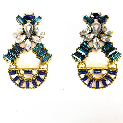 Dark Blue and Gold Crystal Earrings - Model: TROY 1371