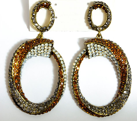 White Orange Metal Beaded Earrings - Model: 711-ESE09573