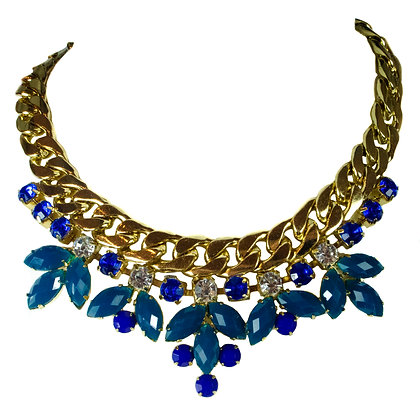 Blue Teal Stoned White Crystaled Gold Necklace