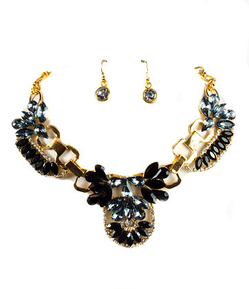 Crystal Feathers Necklace Set - 299 RNE2179