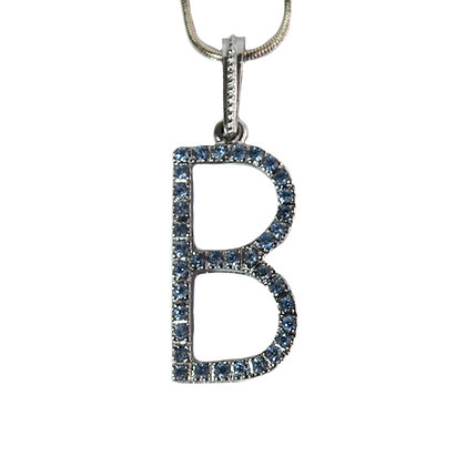 Silver Blue Rhinestoned Letter B Necklace