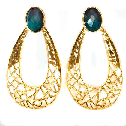 Green Stoned Gold Drop Earrings - Model: 2 SAE7662