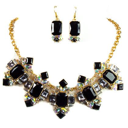Black Stone Necklace Set - Model: 406 YNE1253