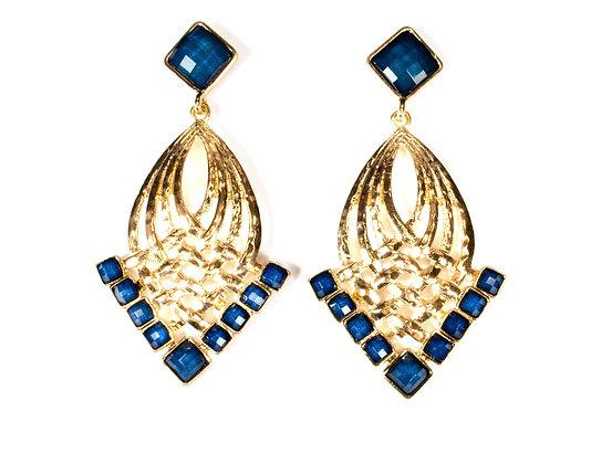 Dark Blue Stoned Golden Arrow Earrings - Model: 2 SYE7712