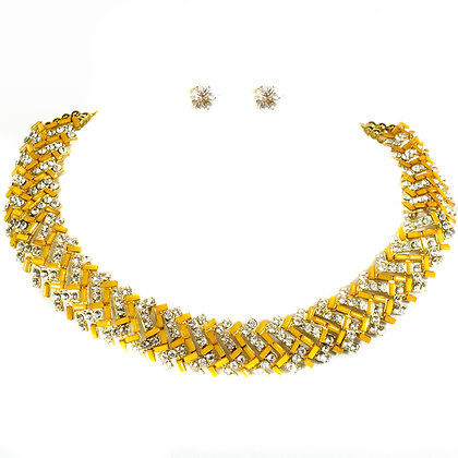 Orange Stoned Crystal Necklace Set - Model: 364 SNM1642