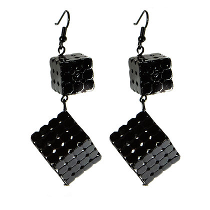 Black Double Cube Earrings