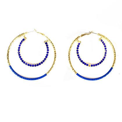 Blue Stoned Gold Metal Hoop Earrings - Model:414 EJ30776