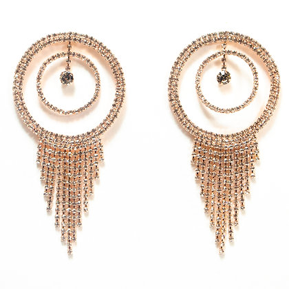 Crystaled Tassel Hoop Rose Gold Earrings - TROY 5054