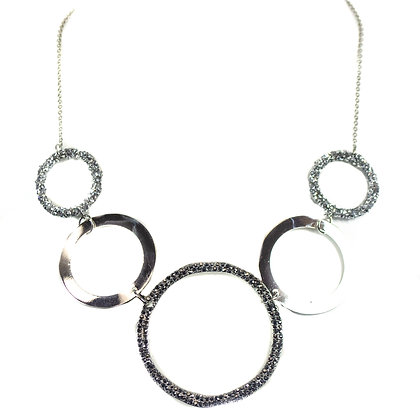Silver Glitter Hoop Fashion Necklace - Model: TROY 5202