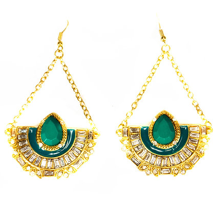 Green Stoned Gold Half Circle Earrings - Model: 299 ZE4113