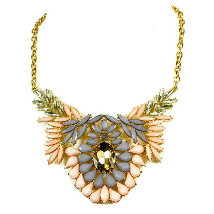 Purple and Pink Feathered Yellow Stoned Fashion Necklace - Model: TROY 100PP