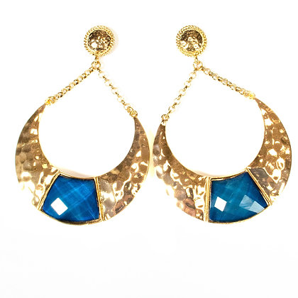 Blue Stoned Gold Metal Crescent Earrings - Model: 299 DLE7029