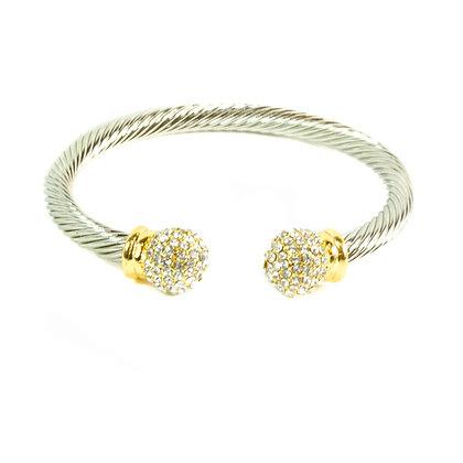 Silver Twirled Rhinestone Bracelet - Model: 5216