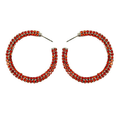 Red Crystaled Silver Small Hoop Earrings