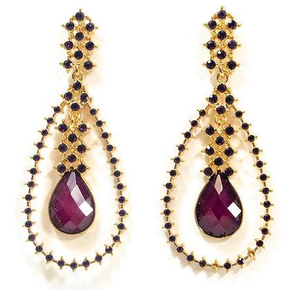 Purple Stoned Gold Earrings - TROY 100 PSG