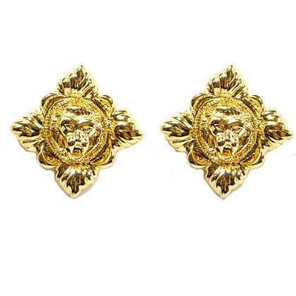 Gold Roaring Lion Earrings - TROY GLE