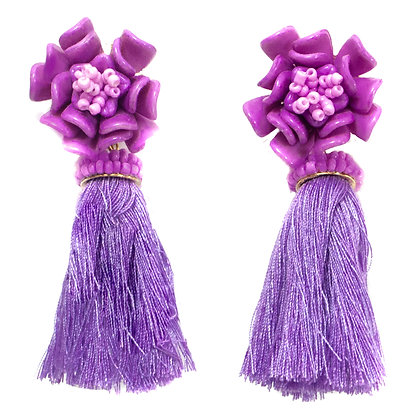 Purple Flower Tassel Earrings - 289 TE1014
