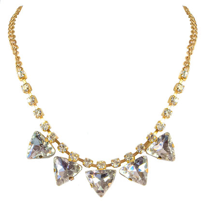 Gold Large and Small Crystaled Necklace