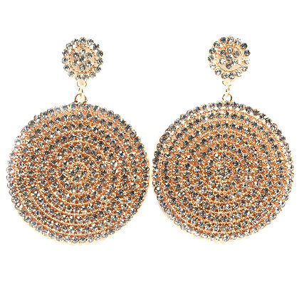 Crystaled Rose Gold Circle Earrings - TROY 5229