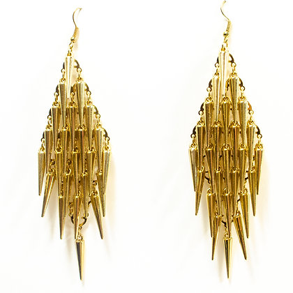 Gold Hanging Spikes Earring - TROY HSP