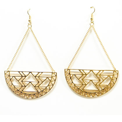Gold Half Circle Earrings - Model: TROY GHE